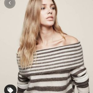 REISS striped Belle offshoulder mohair sweater M